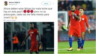 El tweet que publico Arturo Vidal luego de la derrota de Chile ante...