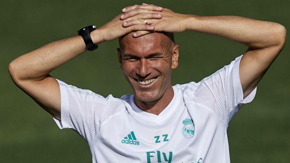 Zidane durante un entrenamiento en Valdebebas