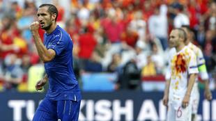 Chiellini celebra el gol que marcó ante España en la pasada...