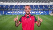 Darder posa con la camiseta del Espanyol en el RCDE Stadium.
