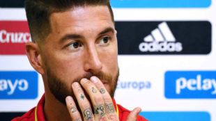 Sergio Ramos, en un momento de la rueda de prensa previa al...
