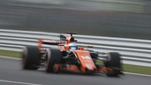 Fernando Alonso, en los entrenamientos libres en Monza