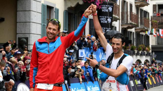 François D'Haene y Kilian Jornet, en la meta.