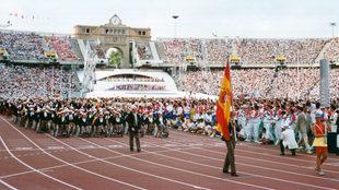 El equipo español desfilando en Barcelona.