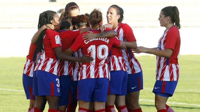 Las jugadoras del Atlético celebran uno de los tantos.
