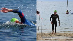 A la izquierda, Hugo Ribeiro nadando y a la derecha, Rebeca Santos...