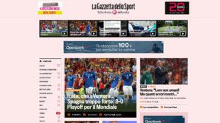 """Espa�a, """"demasiado fuerte"""" (La Gazzetta dello Sport)"""