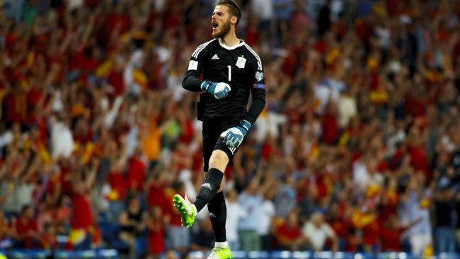 De Gea, celebrando uno de los goles de la selecci�n espa�ola.