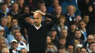 Guardiola (46), en el partido entre el Manchester City y el Everton
