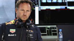 Chrstian Horner, en el muro de Red Bull en Monza