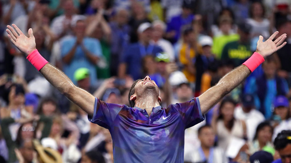 Del Potro celebra su victoria en el US Open