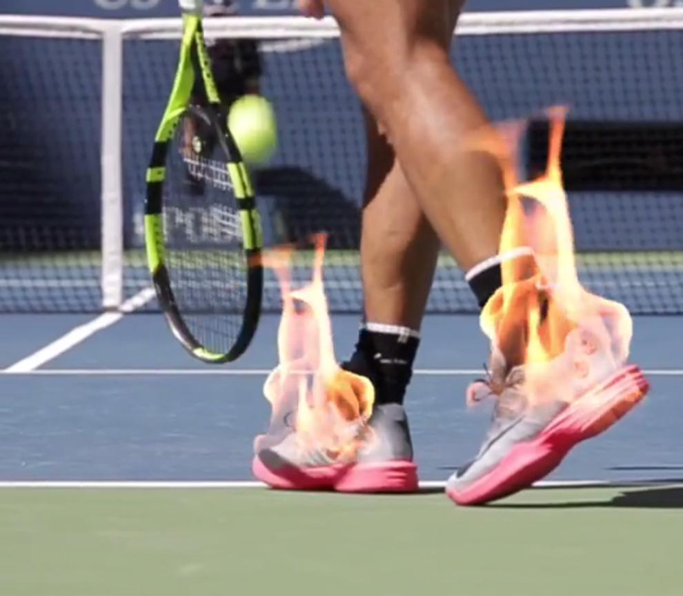 Montaje del US Open con los pies ardiendo de Rafa Nadal