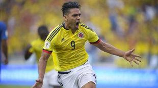 Falcao celebra su gol a Brasil.