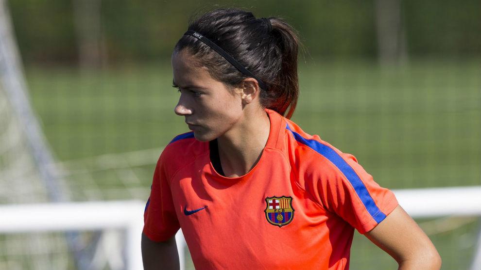 Aitana Bonmatí durante un entrenamiento con el Barcelona.