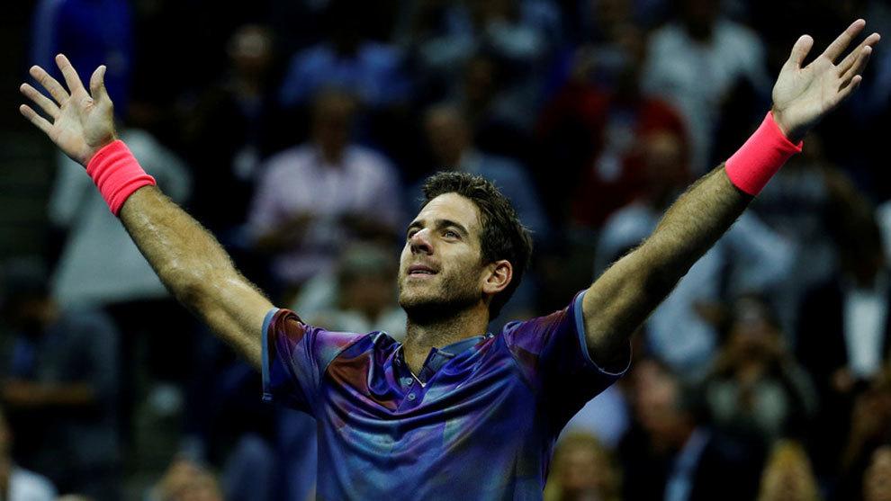 Del Potro celebra el pase a semifinales del US Open