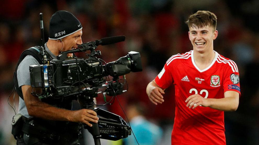 Woodburn, radiante de alegría después de marcar el gol del triunfo...