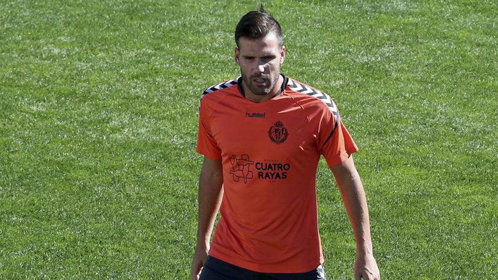 Ortuño entrenando con el Valladolid