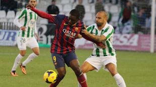 Acción del partido jugado en la 2013-14 entre Córdoba y Barcelona B.