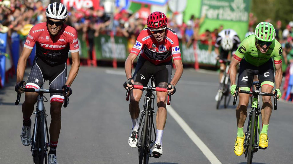 Contador, Froome y Woods entrando en meta.