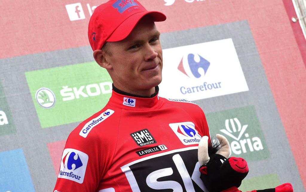 Chris Froome en el podio de la general.