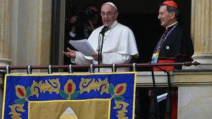 El papa Francisco, durante su discurso en Bogotá.