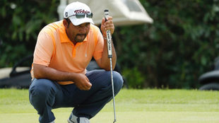 Rodríguez, en acción dento del golf profesional.