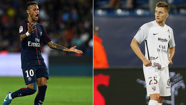 Neymar (PSG) e Iv�n Balliu (Metz), rivales esta noche en el Stade...