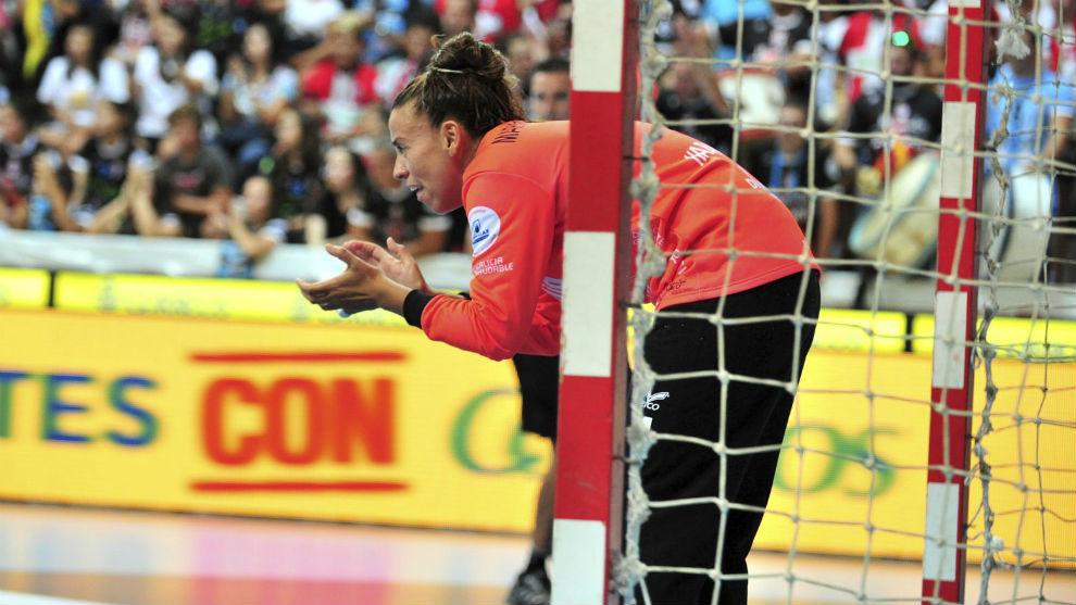 La portera del Mecalia Atlético Guardés Carratu, en la reciente...