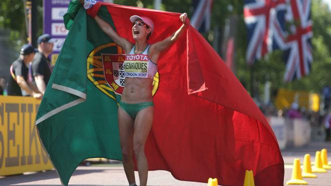 La marchadora portuguesa, en la llegada de la prueba de los 50 km de...