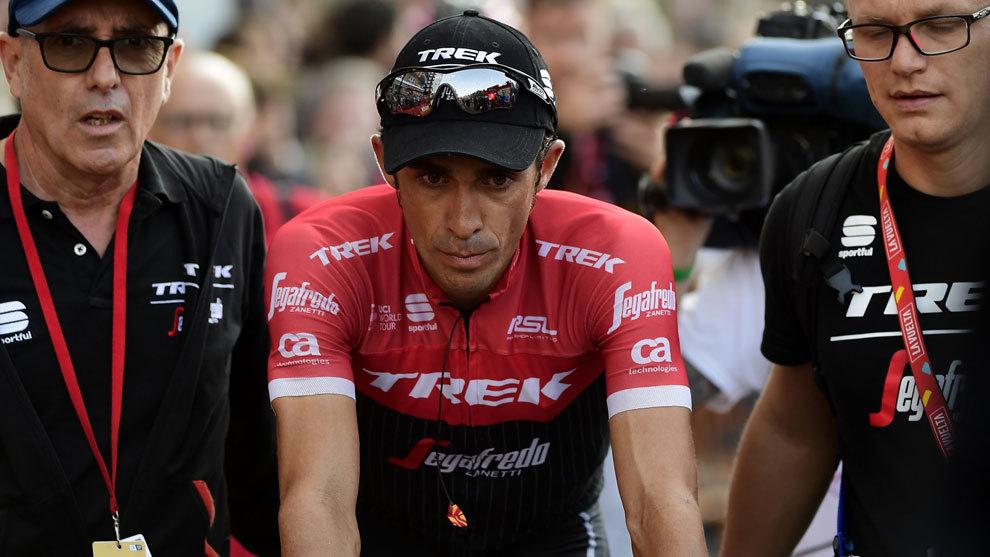 Alberto Contador al término de la etapa de hoy.