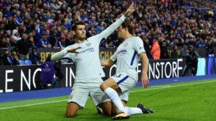 Morata celebra su gol al Leicester.