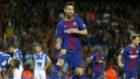 Leo Messi celebra uno de los goles de esta noche en el Camp Nou.