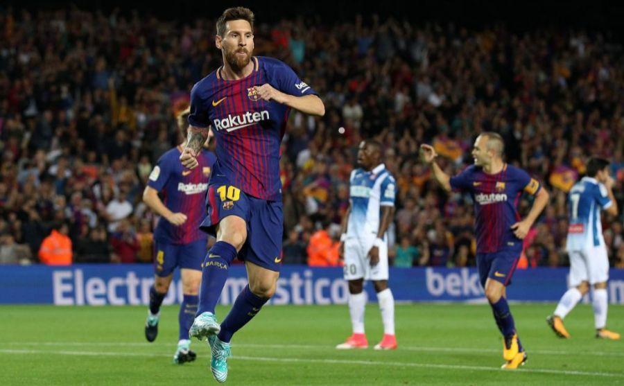 Messi celebrando uno de sus tres goles