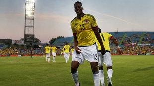 Mina celebra un gol con la selección Colombia