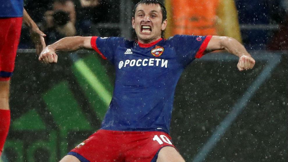 Dzagoev celebra un gol con el CSKA.