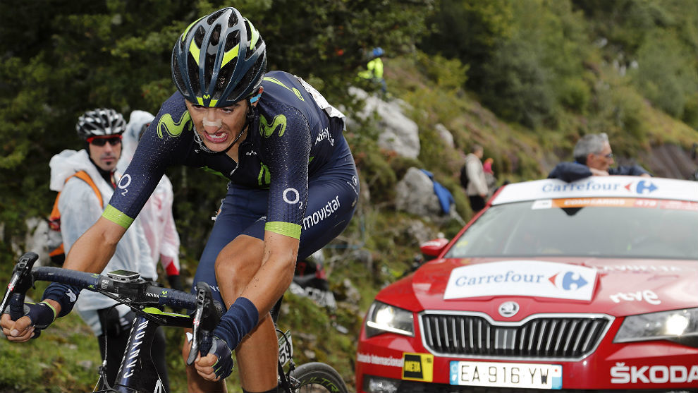 Marc Soler, en una escapada de la Vuelta a España.