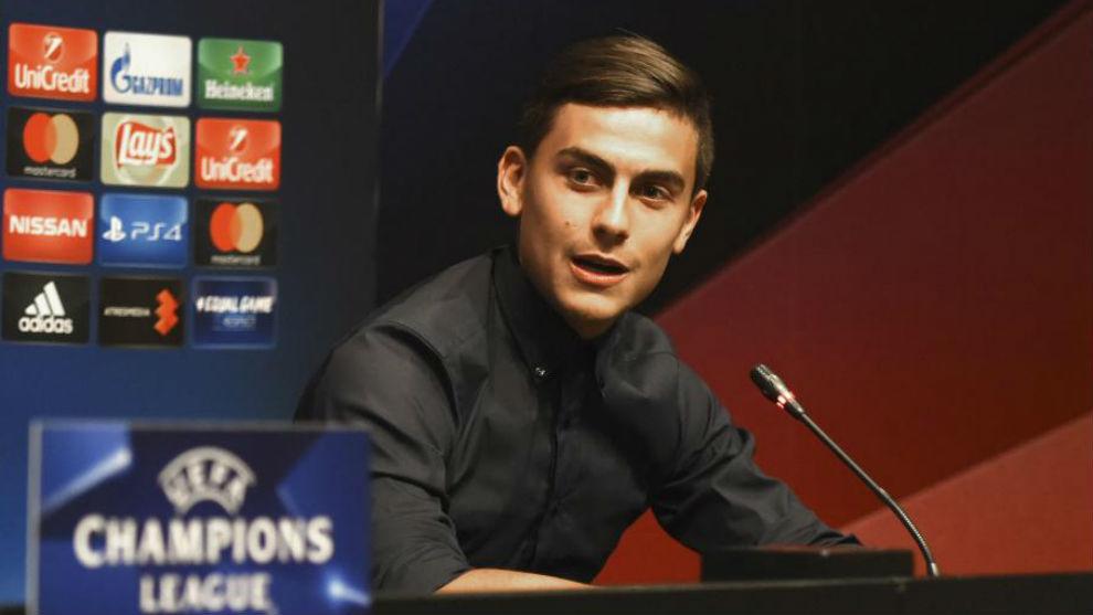 Dybala, en la rueda de prensa de hoy previa al partido de mañana en...