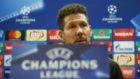 Simeone en la rueda de prensa previa al inicio de la Champions