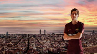 Sergi Roberto luce la tercera equipaci�n del Barcelona