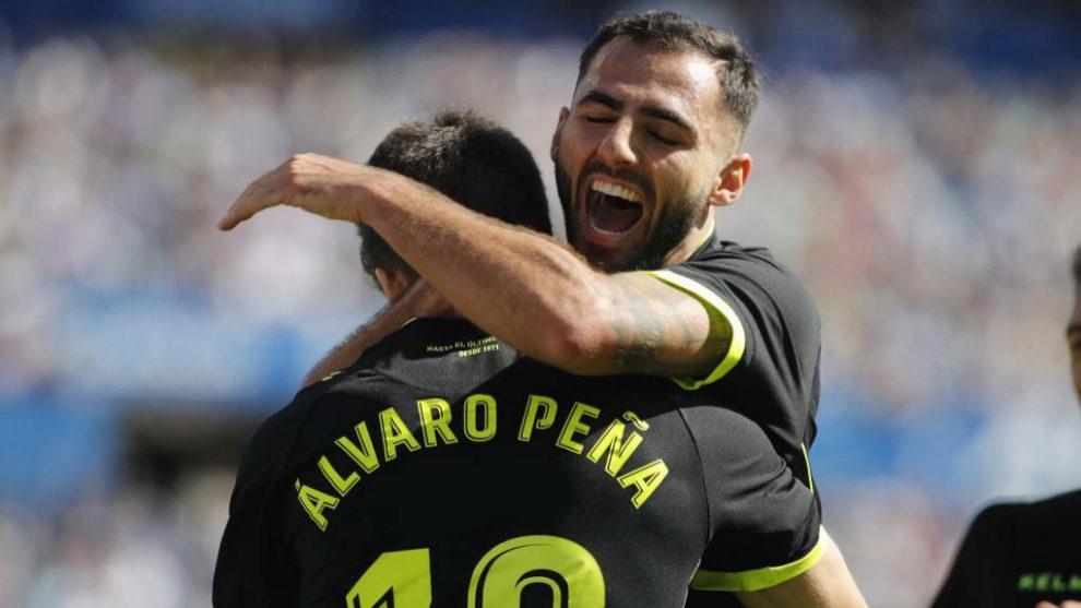 Álvaro Peña celebra su gol ante el Zaragoza