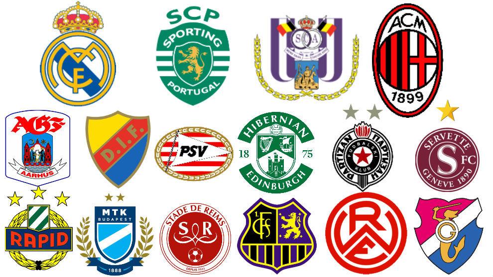 Los escudos de los dieciséis participantes de la primera edición de...