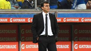 Quinteros (52), durante el partido entre Brasil y Ecuador por la...