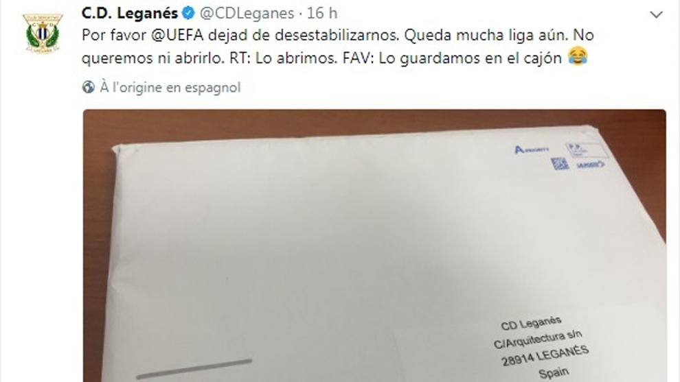 El primer tuit publicado en la cuenta del Leganés