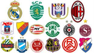 Los escudos de los diecis�is participantes de la primera edici�n de...