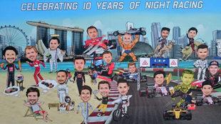 El cartel con caricaturas de los pilotos elaborado por el GP de...
