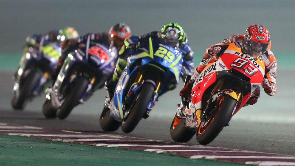 Márquez lidera el pasado GP de Qatar.