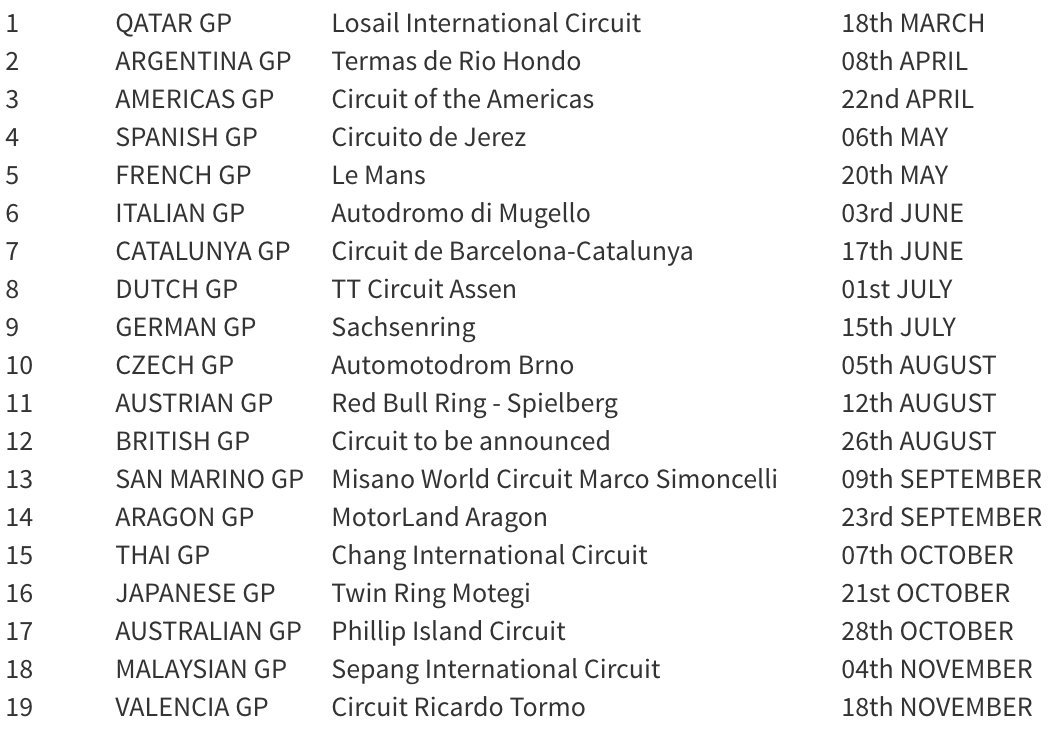 Moto Gp Calendario.Calendario Moto Gp 2018 Territorio Chef