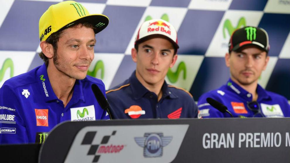 Rossi, Márquez y Lorenzo en rueda de prensa en Jerez 2017