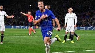 Azpilicueta celebrando su gol al Qarabag