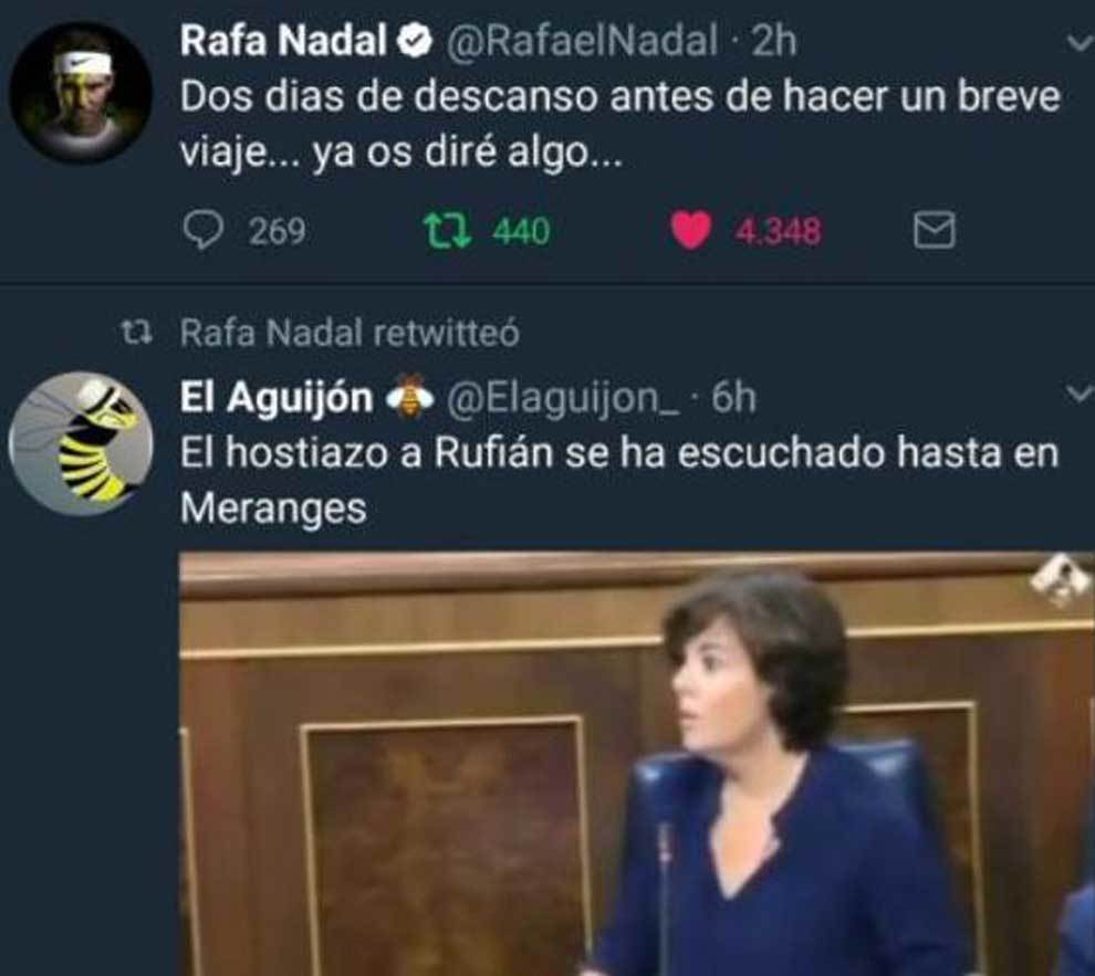 El retuit pirateado desde la cuenta de Twitter de Rafa Nadal